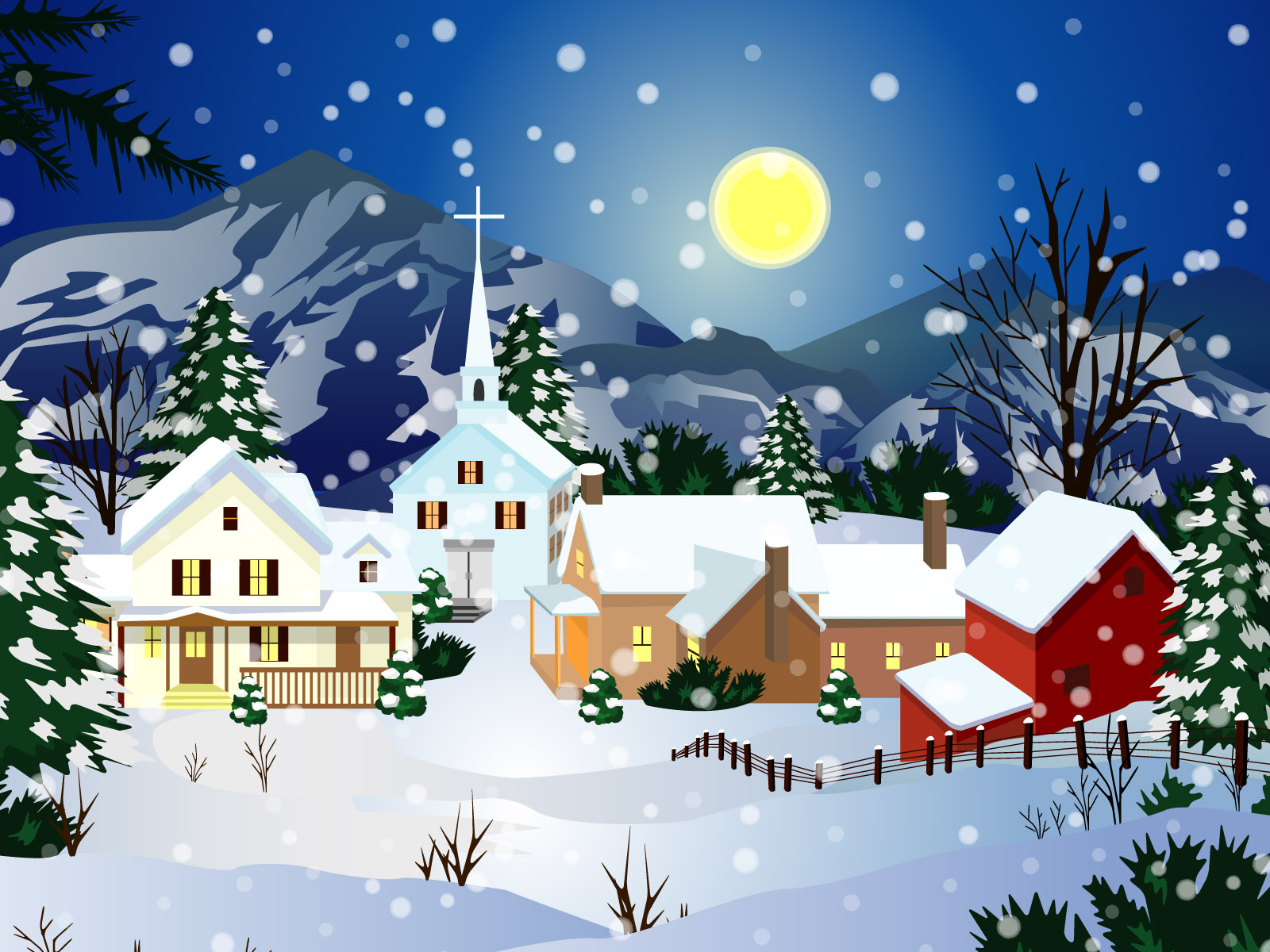 Animated Christmas Snow Town Best Wallpaper 1600x1200