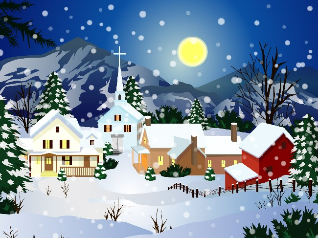 Animated Christmas Snow Town Best Wallpaper