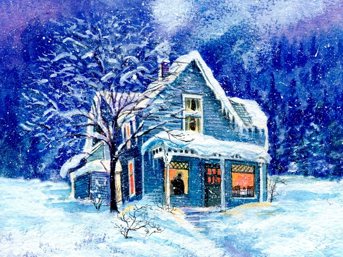 Snowed in houses wallpaper wallpaper wide hd for Wallpaper home animation