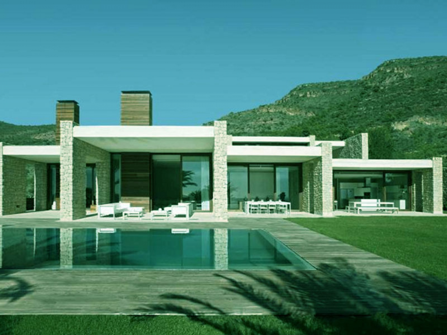 Beautiful architecture house swimming pool design for Cool house wallpaper