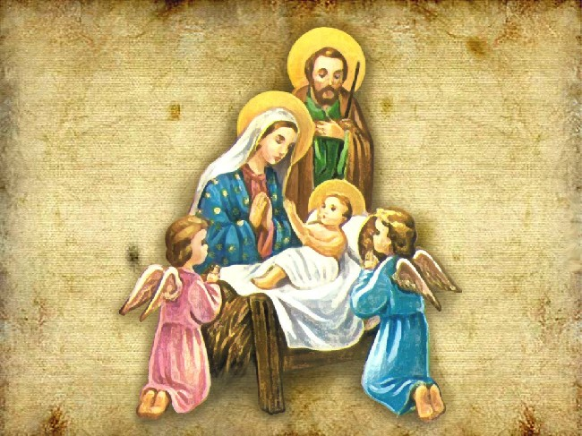 Christmas Baby Jesus Family Angels Wallpaper