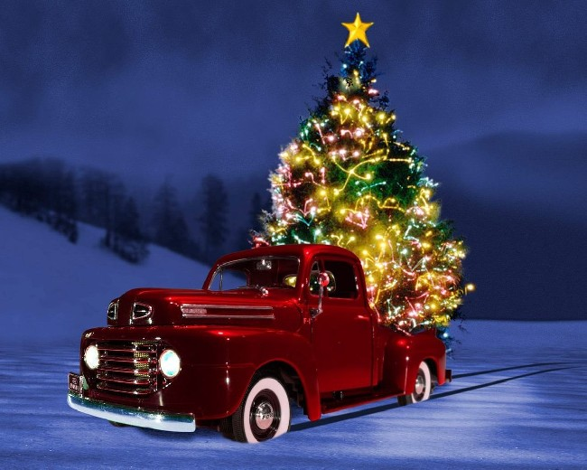 Red Car Christmas Tree Wallpaper | Download cool HD ...