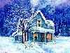 Animated Winter Snow House Wallpaper wallpaper